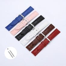 цены Free Shipping High Quality Genuine Leather Strap Watch band accessories Brown Black Belt 10mm 12mm 14mm 16mm 18mm 20mm 22m 24mm