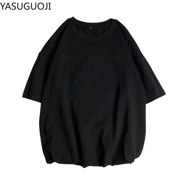YASUGUOJI Plain Oversized T Shirt Men Bodybuilding and Fitness Loose Casual Lifestyle Wear T-shirt Male Streetwear Hip-Hop Tops 5