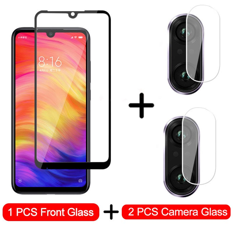 3-in-1 Camera Glass For Xiaomi Redmi Note 7 8 6 Tempered Glass Screen Protector For Redmi Note 8 7 6 5 Pro Protective Glass Film