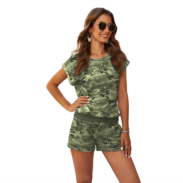 Two Pieces Camo Printed Tracksuit Sets Casual Camouflage Printed T-shirt And High Waist Loose Shorts Sets WDC4556 5