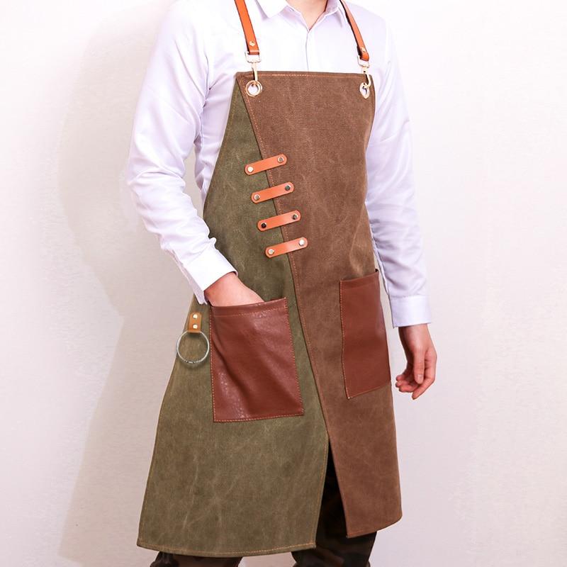 Nuevo delantal vaquero de moda para Chef, cocina, barbacoa con bolsillos, parrilla para horближнего, delantales de cocina para hombr