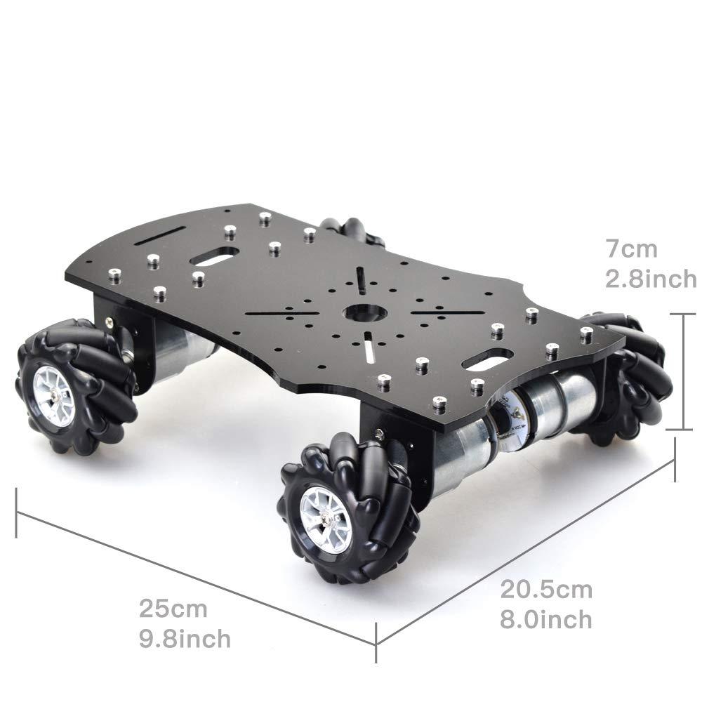 Moins cher Double couche 4WD 60mm Mecanum roue RC Robot voiture châssis avec DC 12V codeur moteur pour Arduino framboise Pi bricolage projet - 3