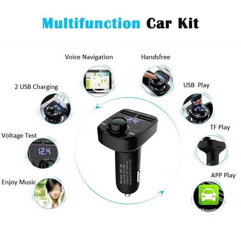 Car Accessories Bluetooth FM Transmitter Radio LCD MP3 Player With Dual USB