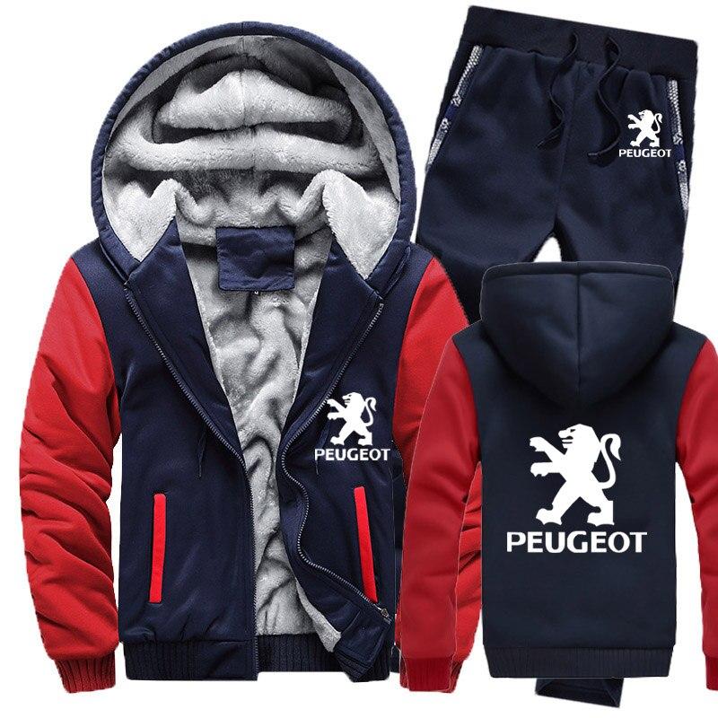 Winter Hoodies Men Peugeot Car Logo Mens Hoodies Suit Thicken Warm Fleece Cotton Zipper Tracksuit Mens Jacket+Pants 2Pcs Sets