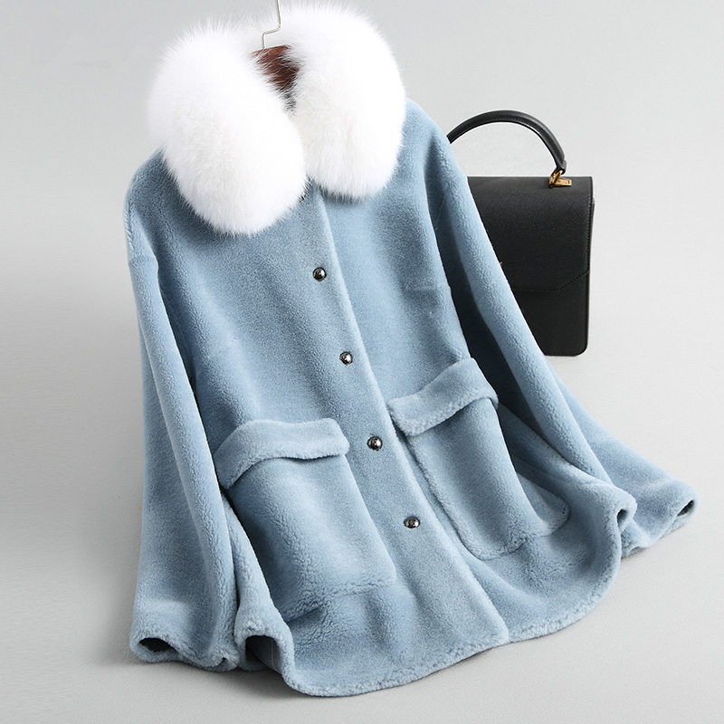 Sheep Natural 2020 Shearing Fur Coat With Real Fox Fur Collar Winter Jacket Women Elegant Blue Short Warm Overcoat 19020