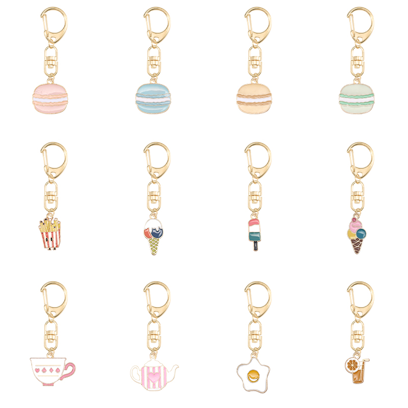 2019 Latest Simple Female Keychain Macarons Ice Cream Shell Shape Pendant Alloy Material Key Chain Jewelry Gift Direct Sales