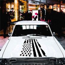 Autocollants universels pour voiture, 1 pièce, autocollant décoratif en vinyle imperméable, créatif, drapeau américain, modèle de capot, décoration de voiture à la mode