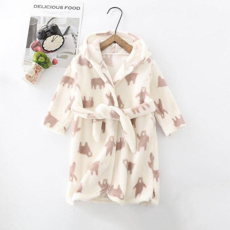 2019 Autumn & Winter-Childrenswear Children Full Printed Flannel Pajamas Thick Bathrobe Children Tracksuit Nightgown Plant