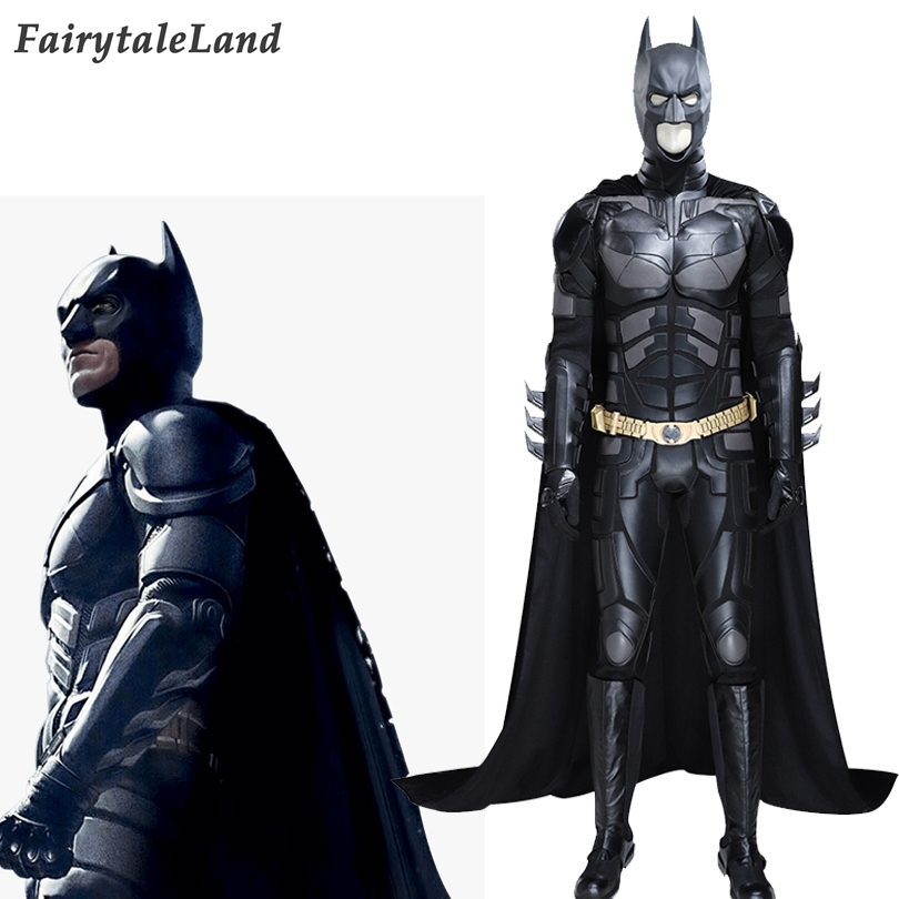 Batman Cosplay Outfit The Dark Knight Rises Costume Batman Bruce Wayne Complete Black Suit With Headgear Golden Belt Cape