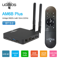 Ugoos-tv box am6, android 9.0, para smart tv, amlogic s922x 2/16gb, 2.4g, 5g, wi-fi, bt 5.0, 4k, android box, am6 pro, plus hd, reprodutor de mídia