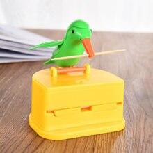 Pequeno pássaro automático palito de dente suporte recipiente palito de dente titular caixa de armazenamento plástico recipiente de armazenamento decoração