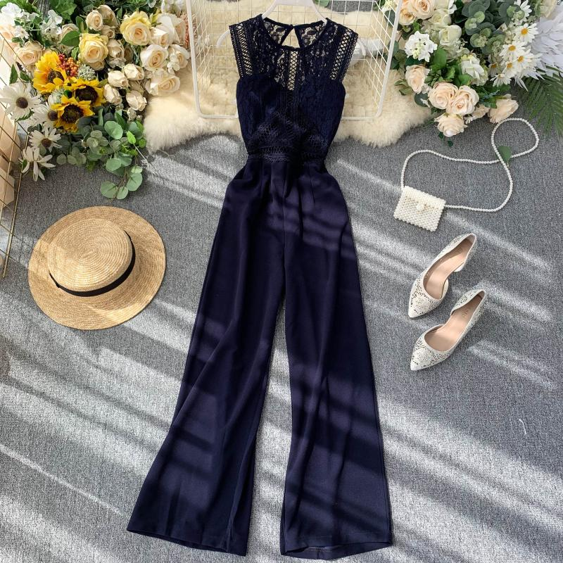 Elegant High Waist Hip Wide Leg Patchwork Lace Hollow Out Sleeveless Jumpsuit 6