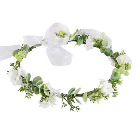 Estilo de Floresta Casamento Nupcial Tiara Imitação Flor Branca Folha Verde Coroa Headpiece Feminino Cabelo Grinalda Halo Mod. 106559
