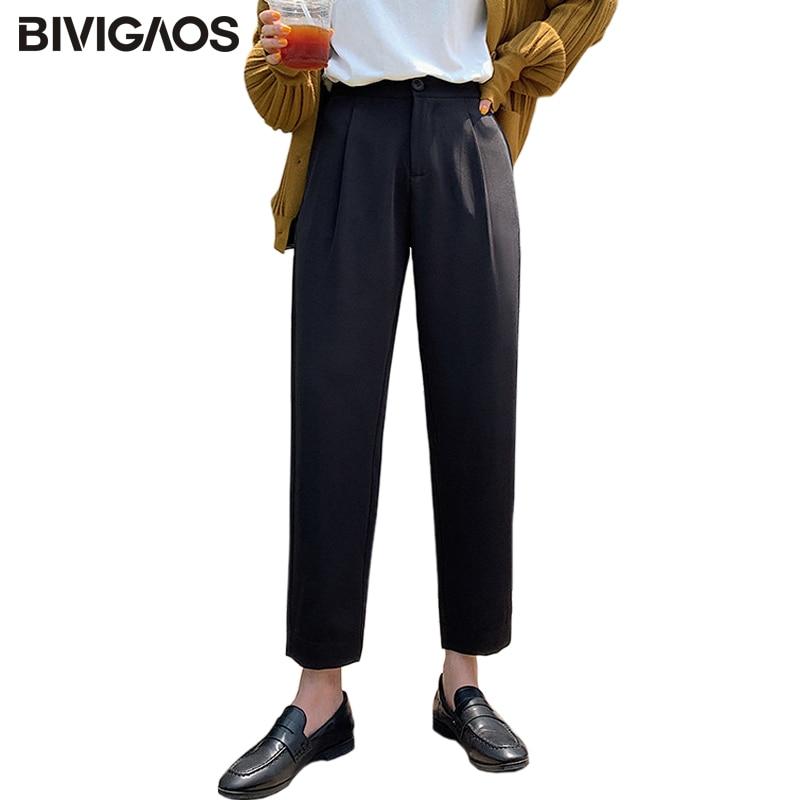 BIVIGAOS 2019 New   Leg   Button Black High Waist Suit   Pants   Women   Wide     Leg     Pants   Straight Loose Cropped Trousers Casual Harem   Pants