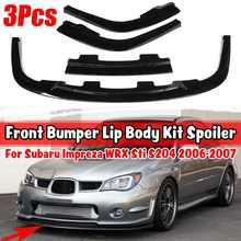 Separador de parachoques delantero para coche, Deflector de labios, cubierta embellecedora, Kit de carrocería para Subaru Impreza WRX Sti S204 2007-2013, 3 uds.