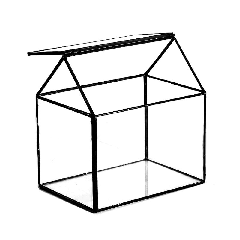 Geometric Glass Terrarium Box Handmade House Shape Close Glass Table Top DIY Display Planter Windowsill Flower Pot With Swing