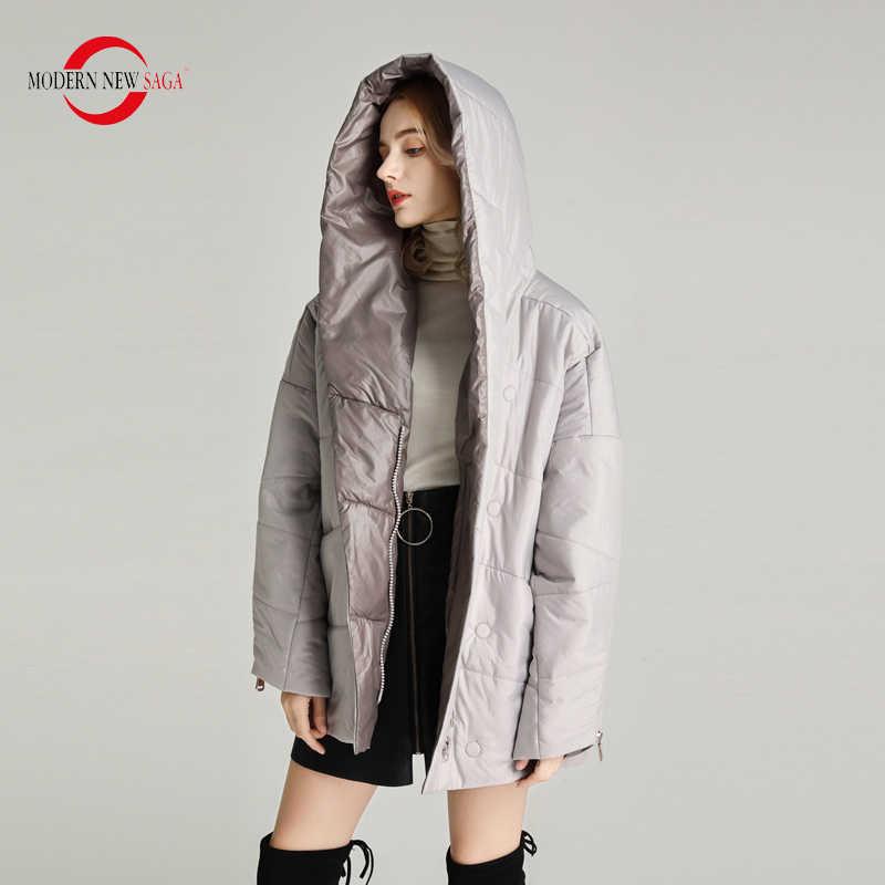 Nova saga moderna 2020 primavera jaqueta feminina fina acolchoado poliéster outono casaco feminino com capuz bolha jaqueta tamanho grande outerwear