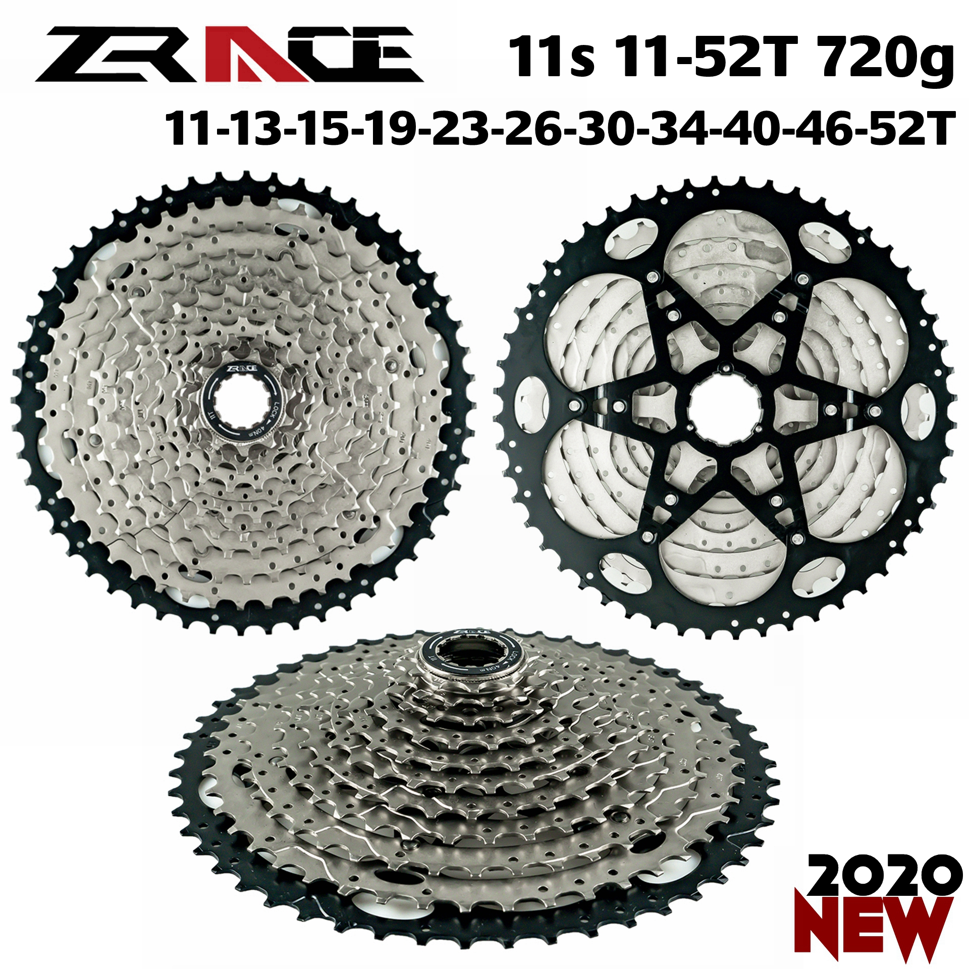 ZRACE Bicycle Cassette <font><b>11</b></font> Speed MTB bike freewheel <font><b>11</b></font>-<font><b>46T</b></font> / <font><b>11</b></font>-50T / <font><b>11</b></font>-52T, Free a adapter image