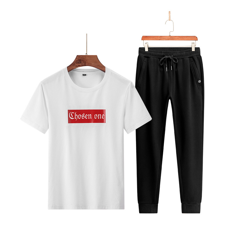 2019 Summer New Style Pure Cotton Short-sleeved T-shirt With Trousers Casual Trend Sports Two-Piece Set Summer Set Men's