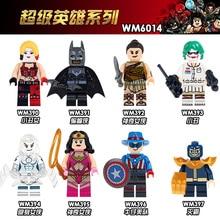 WM6014 Single Sale Thanos Woderwoman Harley Quinn Batman Joker Super Heroes Bricks Education Building Blocks Toys For Children стоимость