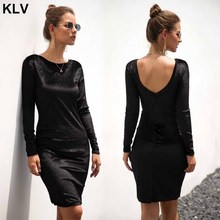 Women Sexy Velvet Bandage Bodycon Long Sleeve O-neck Backless Evening Party Dress