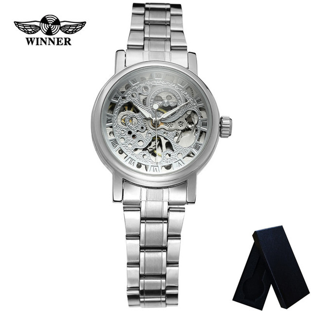 WINNER Classic Automatic Mechanical Women Wristwatch Clock Top Brand Luxury Silver Stainless Steel Skeleton Ladies Watch 8005