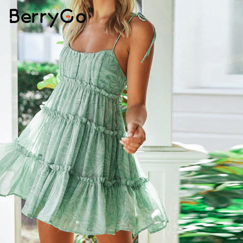 BerryGo Ruffle Backless Sexy Short Dress Women High Waist Holiday Summer Beach Dress Casual Floral Print Strap Mini Dress Female