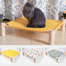 Wooden Elevated Cat Bed Detachable Kitten Puppy Wood Lounger Pet Canvas Beds Cushion Pets Sleeping Mat Cats Hammock House multifunctional pet hammock cats beds indoor cat house mat for warm small dogs bed kitten lounger cute sleeping mats products