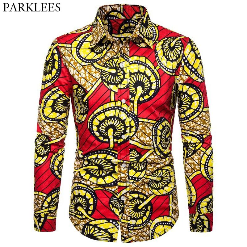3D Totem Print African Shirt Men 2019 New Tribal Dashiki Long Sleeve Mens Dress Shirts Bazin Riche Traditional African Clothing