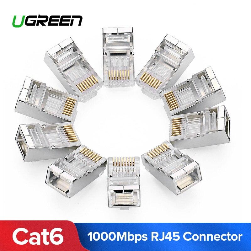 Ugreen cat6 rj45 conector 8p8c cabeça de cabo ethernet modular plugue banhado a ouro cat 6 crimp rede rj 45 crimper conector cat6