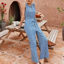 Fashion woman striped jumpsuit round neck short sleeve belt