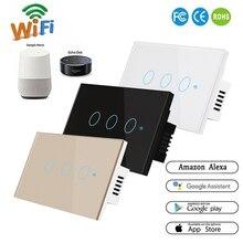 مفتاح ذكي 1 3Gang واي فاي و RF 120 نوع الجدار الذكية مفتاح إضاءة يعمل باللمس أتمتة المنزل الذكي وحدة التحكم عن بعد الولايات المتحدة القياسية