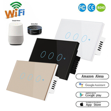 Smart Switch 1 3Gang WiFi & RF 120 Type Smart Wall Touch Light Switch Smart Home Automation Module Remote Control US Standard