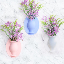 New Silicone Sticky Flower Vase Stick on The Wall Bathroom Container Pot Decoration Home Glass mirror
