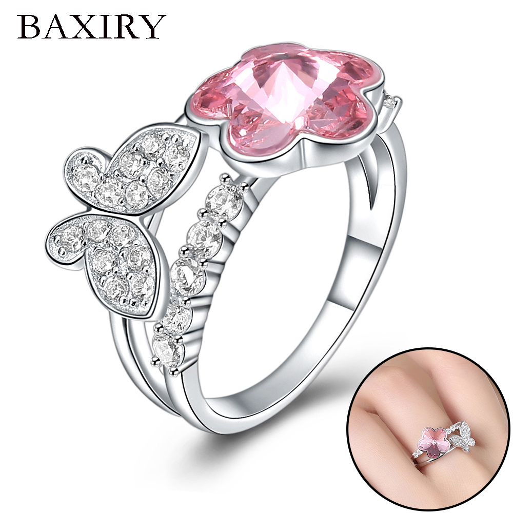 2019 New Luxury Big Butterfly Ring For Women 100% 925 Sterling Silver Adjustable Gemstones Silver Ring Trendy Engagement Rings