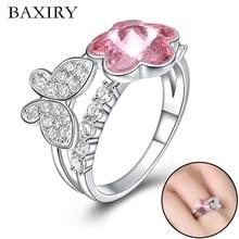 2019 New Luxury Big Butterfly Ring For Women 100% 925 Sterling Silver Adjustable Gemstones Trendy Swarovski Rings