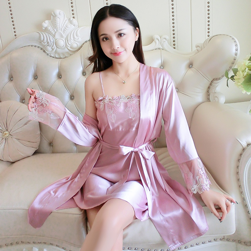 2019 Spring And Summer New Products Women's Sexy Silk Pajamas Two-Piece Set Romantic Temptation Pajamas Suit