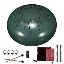 Transporte rápido 6 Polegada língua de aço tambor 8 tune mão pan tambor tanque pendurar tambor com baquetas transportando saco instrumentos percussão