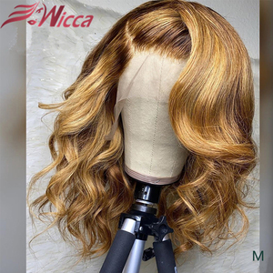 Wicca 13x6 180 Density Lace Front Human Hair Wave Wigs Honey Blonde Pre Plucked With Baby Hair Bleached Knots Brazilian Remy