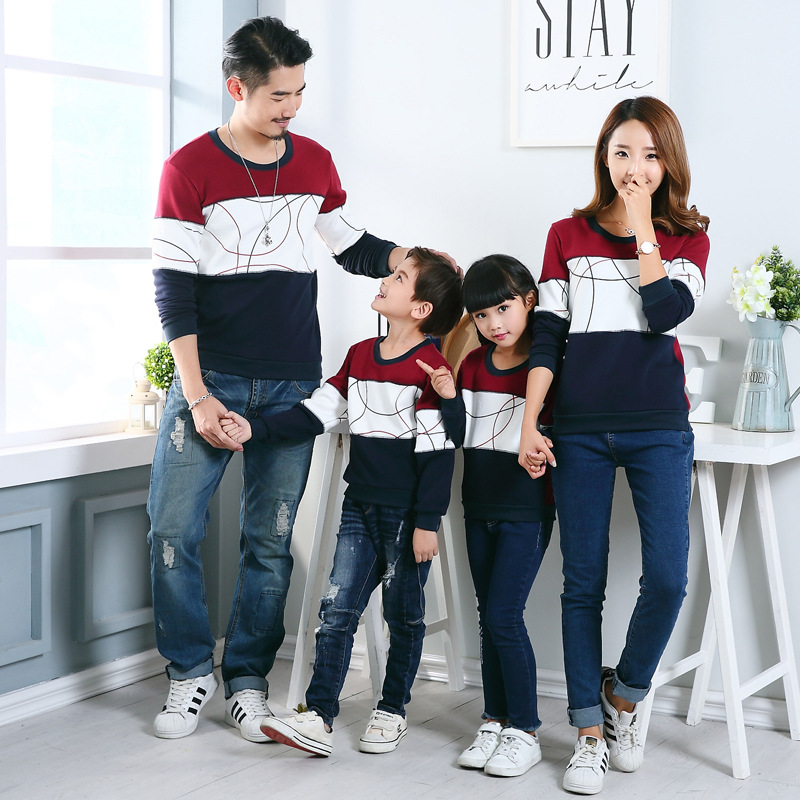>New 2019 Casual <font><b>Autumn</b></font> Family <font><b>Matching</b></font> Outfits Mother Daughter Father Son Boy Girl Cotton Clothes Set Family <font><b>Clothing</b></font>