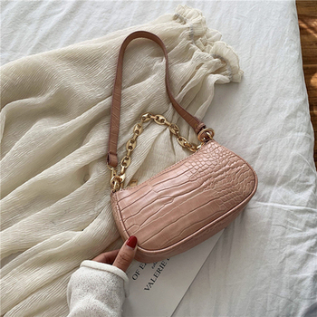 Fashion Crocodile Pattern Baguette bags MINI PU Leather Shoulder Bags For Women 2020 Chain Design Luxury Hand Bag Female Travel - Pink