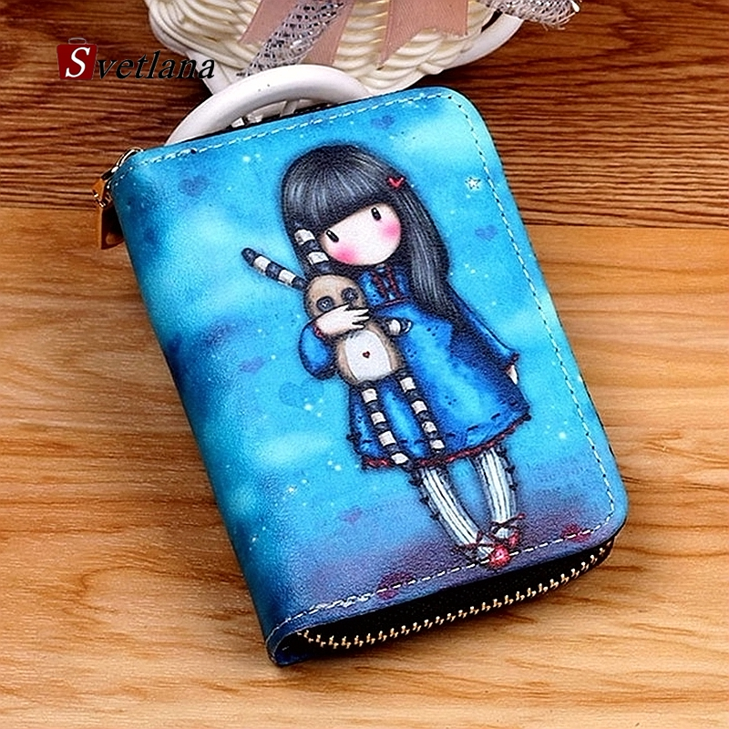 Bag Wallet Purses Bank Card-Holder Dolls Id-Card Graffiti Business-Zipper Cartoon Kawaii