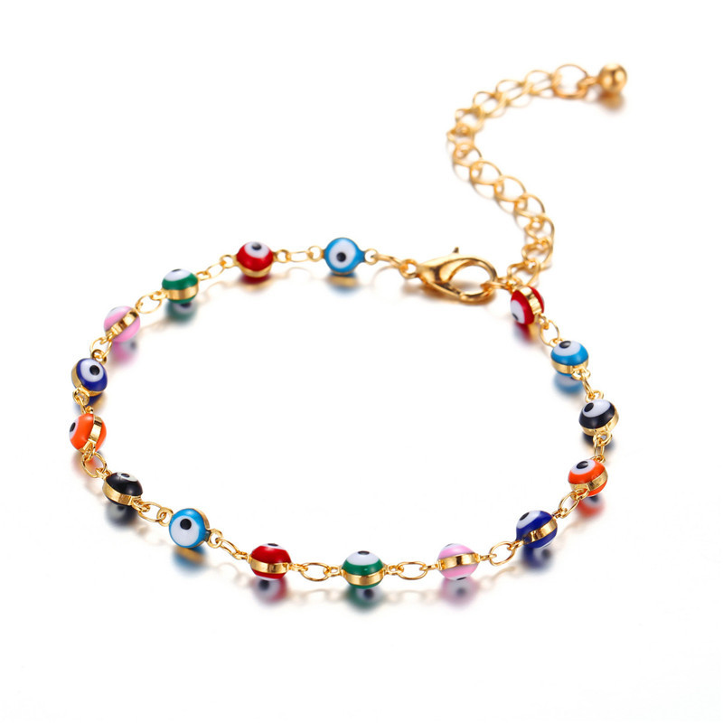 2020 Hot Sale Colourful Evil Eye Beads Ankle Bracelet For Women Gold Color Link Chain Anklets Wholesale