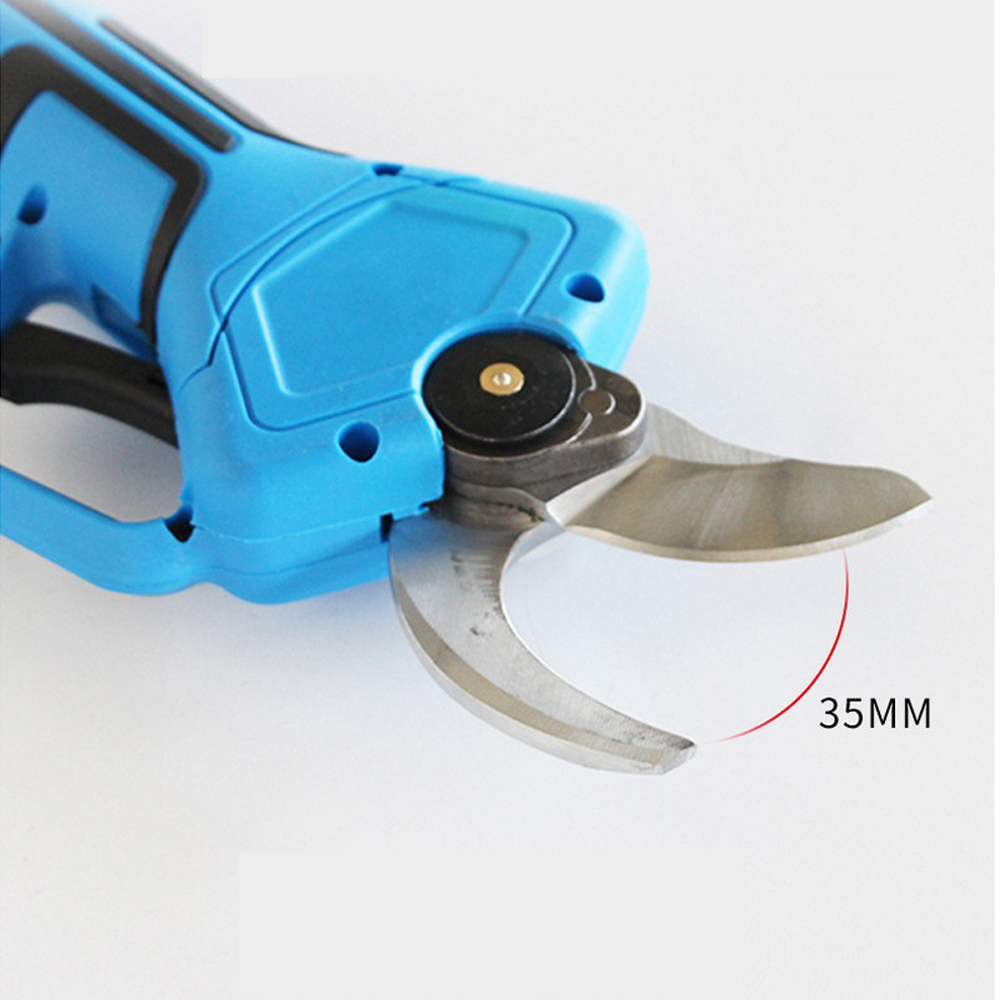 Tools : 35mm Electric Pruning Shears Scissors 16 8V Non-slip Handle Electric Pruning Secateur with 2 Battery Gardening Pruning Shears