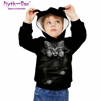 Bluzy sportowe dla dzieci czarny kot 3D Print bluzy dla dzieci Junior dziecko z długim rękawem swetry 5-12y chłopięce i dziewczęce swetry z kapturem tanie i dobre opinie Myth-box Pasuje prawda na wymiar weź swój normalny rozmiar Szybkie suche Wokół szyi TWQA Pełna Dzianiny Poliester