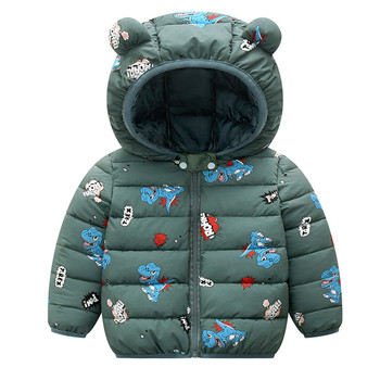 Hooded Baby Coat with Dinos Print and Bear Ears 4