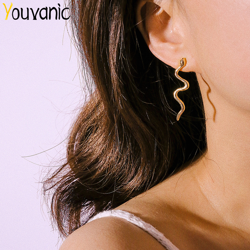 Youvanic Punk Long Snake Earrings Gold Color Personality Stud Earings For Women Vintage Animal Brincos Female Fashion Jewelry