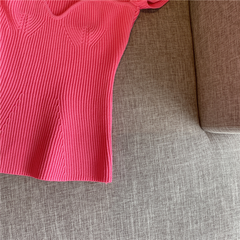 2020 New Women Summer Sexy Square Collar Knitted T Shirts Pure Color Women Short Sleeve Slim T Shirt s For Women White Tees