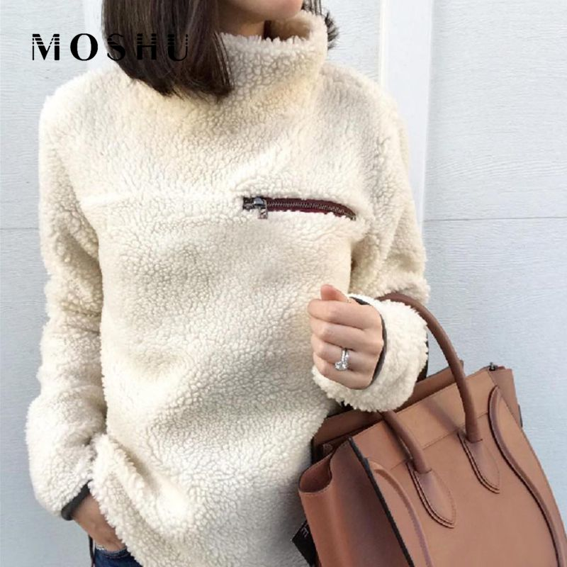 Women Jumper Fleece Sweater Ladies Fashion Tops Zip Winter Sweaters Long Sleeve Pullovers Sweater Pull Femme Sudadera Mujer