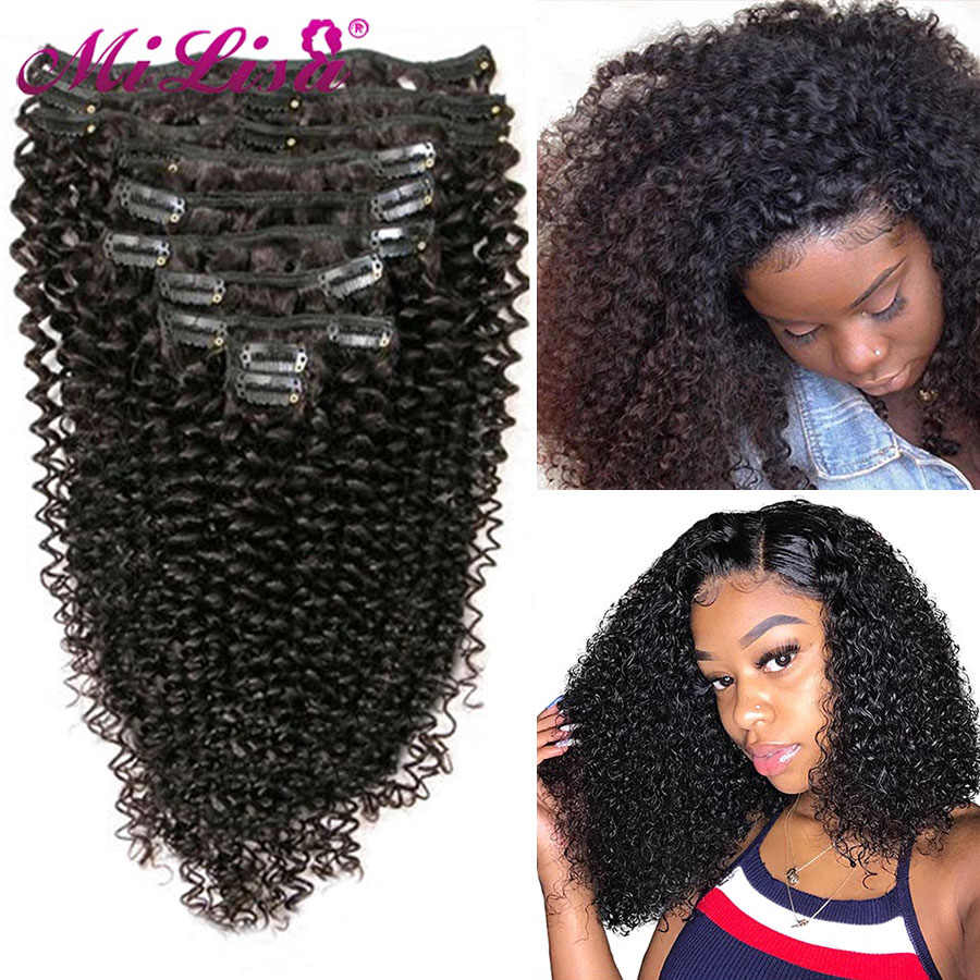 Afro Kinky Krullend Clip In Human Hair Extensions Remy Braziliaanse Kinky Krullend Clip-Ins Volledige Hoofd 8 Stks/set Nautral kleur 3B 3C